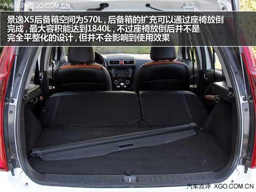 景逸x5的后备箱空间标准状态下为570升